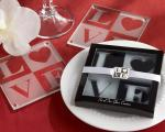 love frosted glass coasters in elegant gift box with matching charm