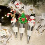 holiday themed bottle stopper favors (3 assorted)